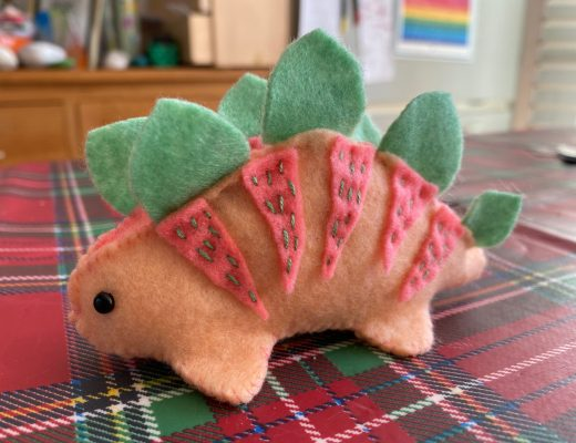 felt dino pincushion kit