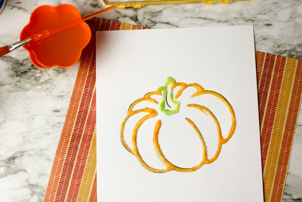 Easy salt painted pumpkin craft