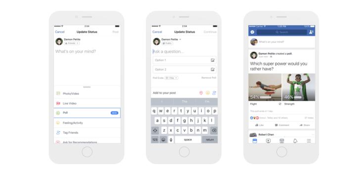 New Facebook feature: create polls
