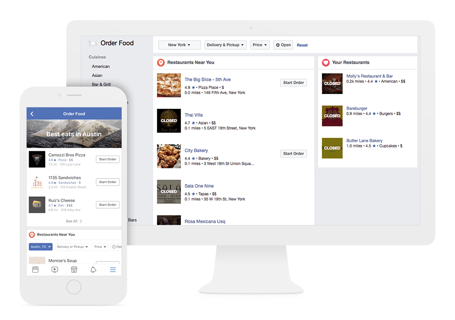 New Facebook feature: order food