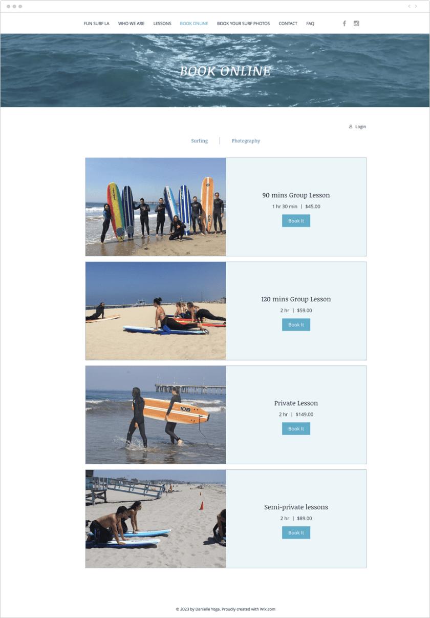 Voorbeeld van Wix Bookings gebruikt op de website van de serviceprovider