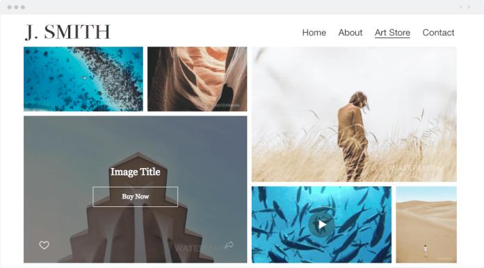 screenshot of Wix Art Store
