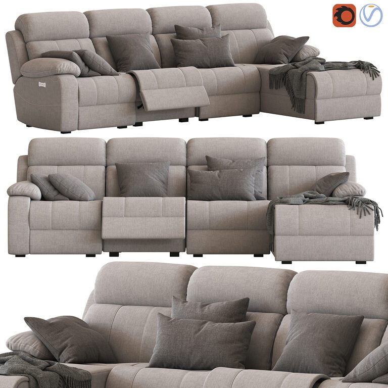 4 seater modular sofa with chaise and foot lift 3d model download 3d model 4 seater modular sofa with chaise and foot lift 101841 3dbaza com