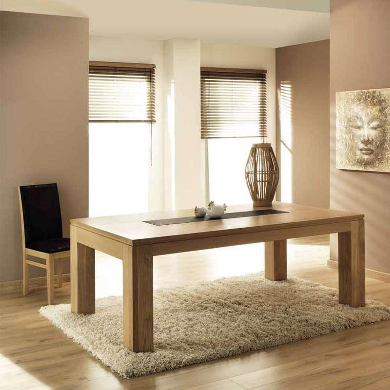 table de salle a manger en chene massif extensible francaise avec insert ceramique baobab