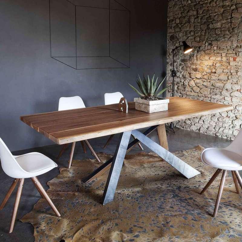 table design rectangulaire en bois massif et metal industriel toronto