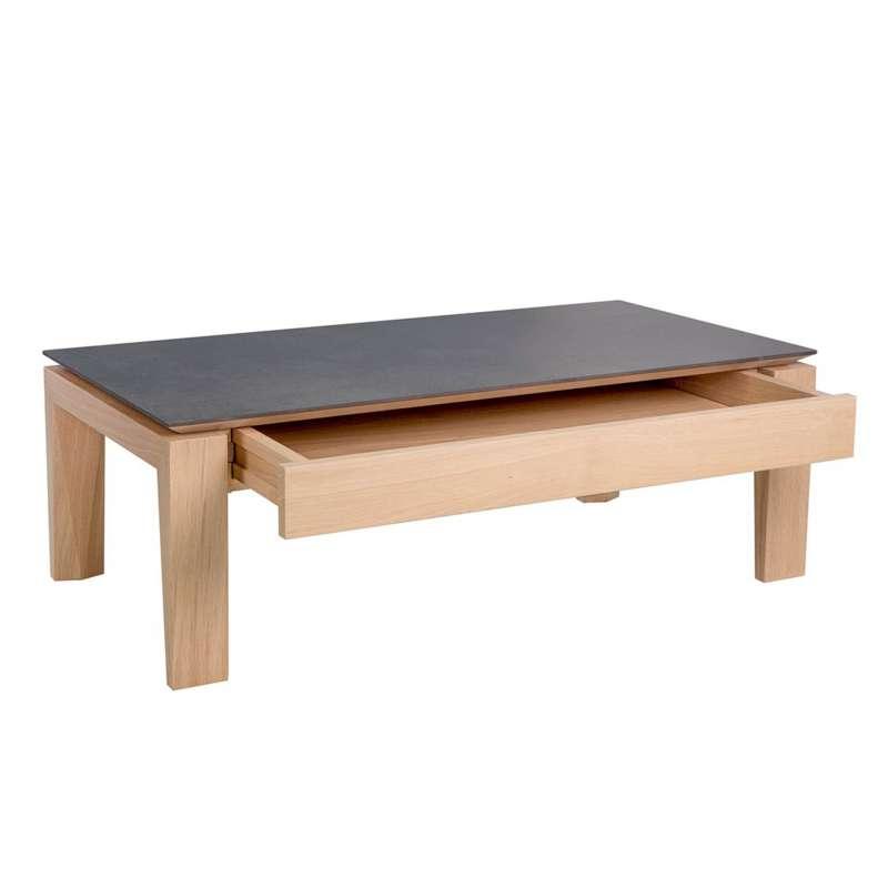 table basse contemporaine rectangulaire en bois et ceramique avec tiroir bakou