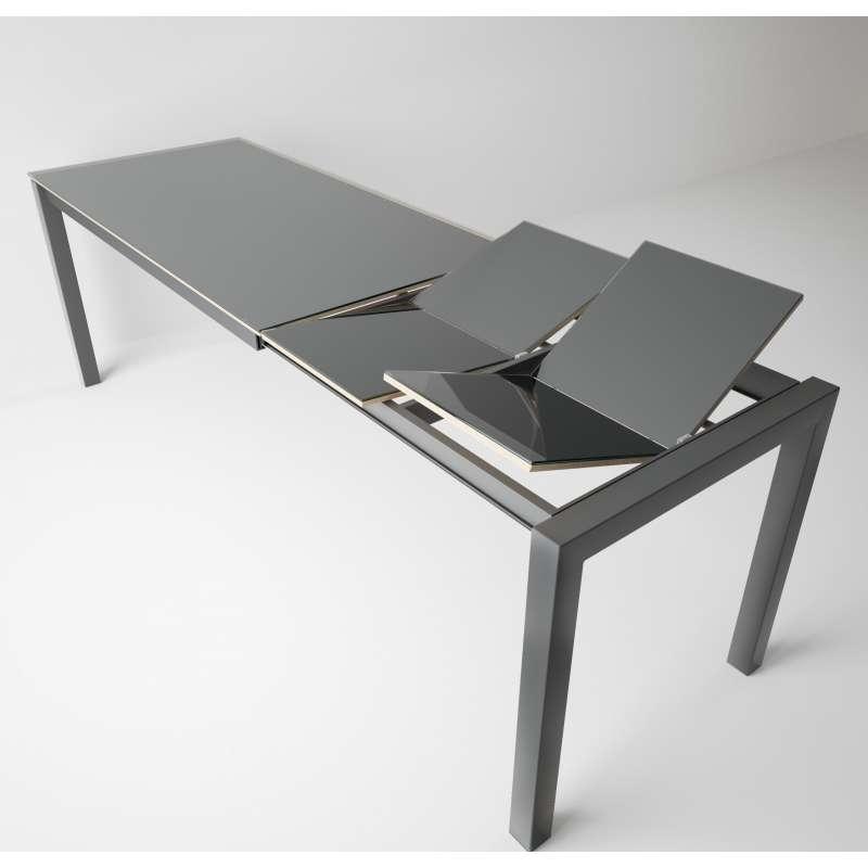 table snack moderne extensible en verre et metal coma bar
