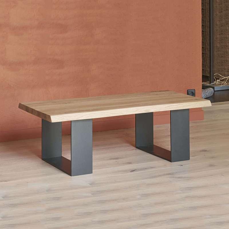 table basse moderne style industriel en chene massif et metal oregon