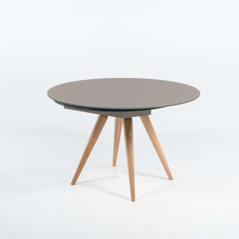 table ronde moderne en verre et bois avec allonges demi lune myles