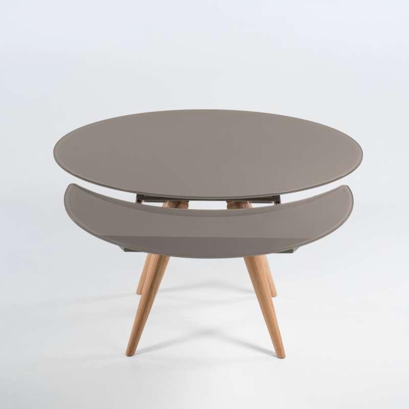 Table Ronde Moderne En Verre Et Bois Avec Allonges Demi Lune Myles 4 Pieds Com