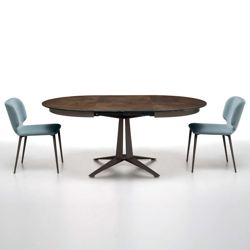 table design ronde extensible en ceramique pied central en metal link midj