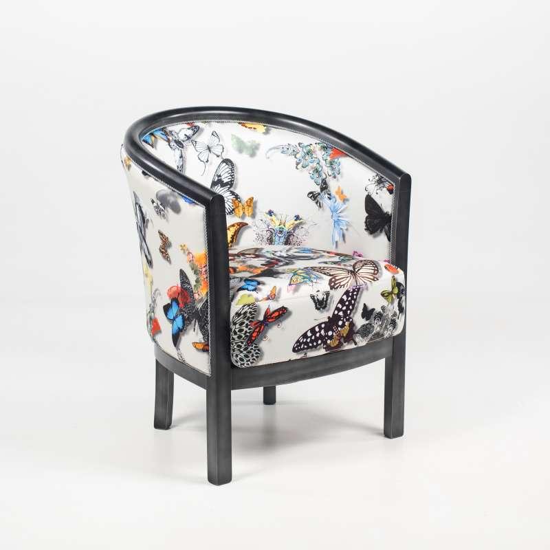 fauteuil tonneau pour salon fabrication francaise en tissu et bois massif julien