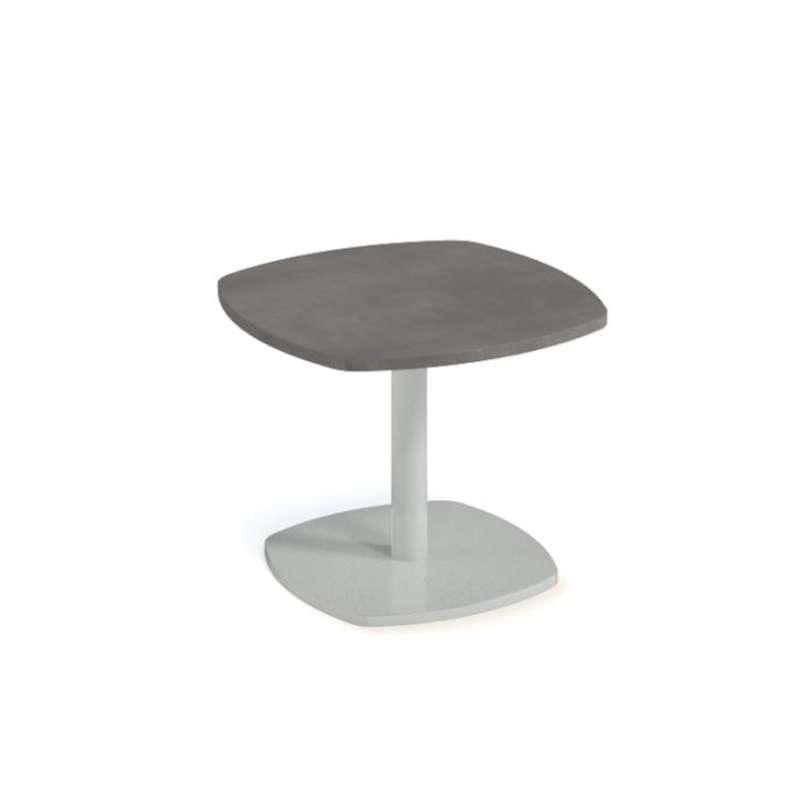 table basse en stratifie aux bords arrondis et pied central circa