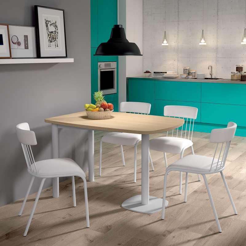 table de cuisine demi oblongue en stratifie et metal pour petit espace lucca