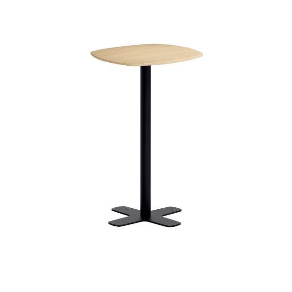 petite table de bar en stratifie aux coins arrondis avec pied central spinner