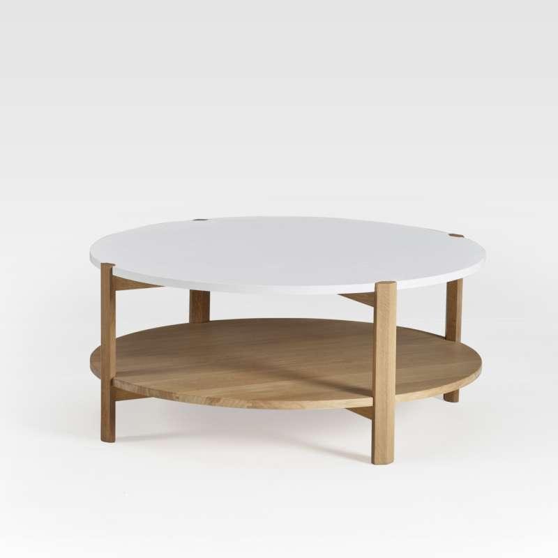 table basse ronde en bois bicolore fabrication francaise facette