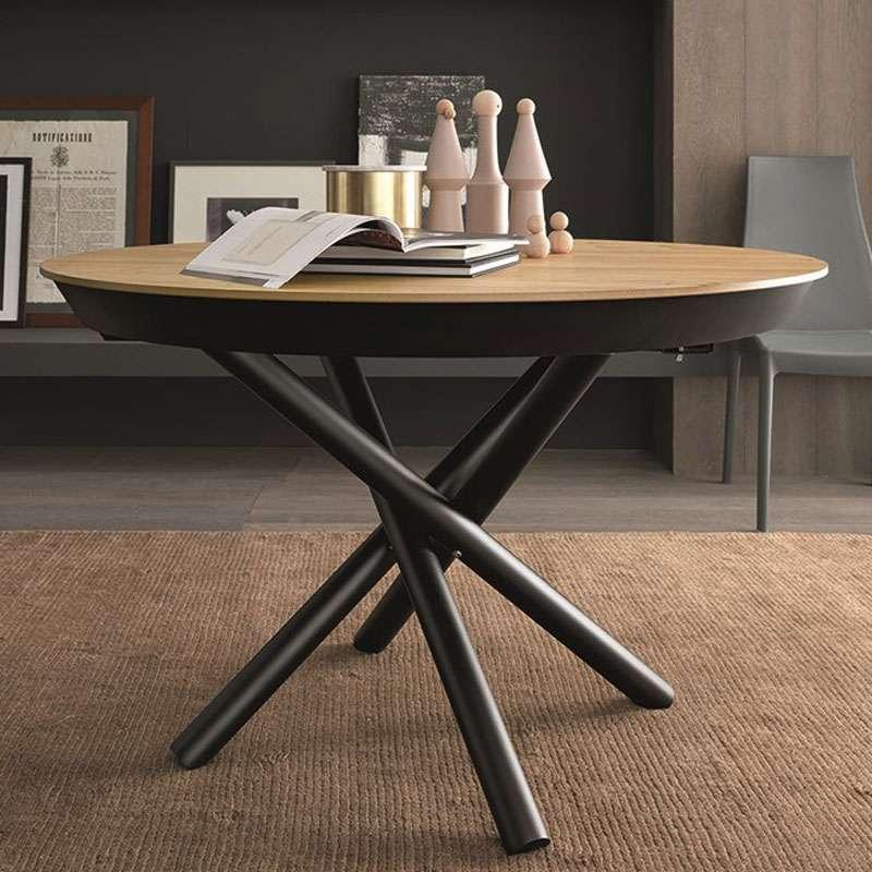 table design extensible ronde en bois avec pied central forme mikado fahrenheit