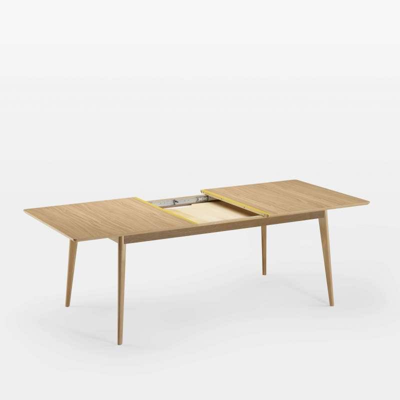 table extensible en bois scandinave fabriquee en france avec lisere colore paul