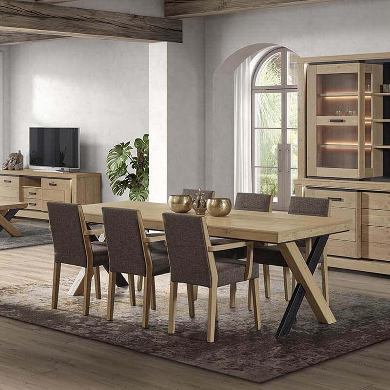 table de salle a manger en bois avec pieds en croix dublin