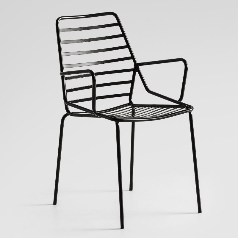 chaise tendance empilable en fil metal avec accoudoirs link b