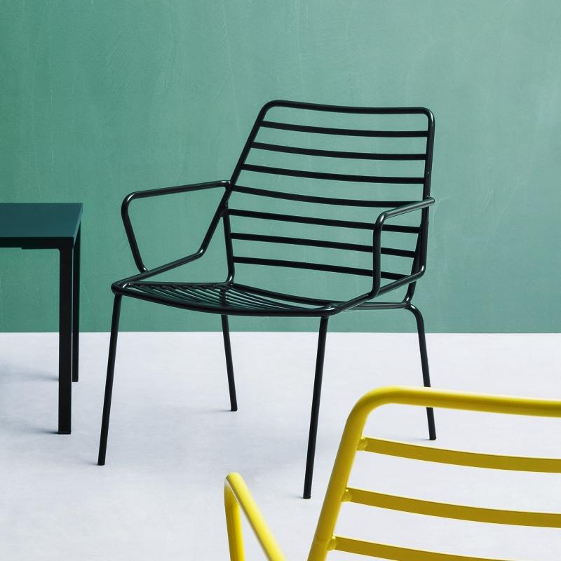 fauteuil de jardin design en fil metal empilable link