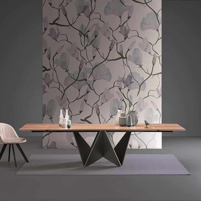 table design italien rectangulaire plateau bois pied central original origami