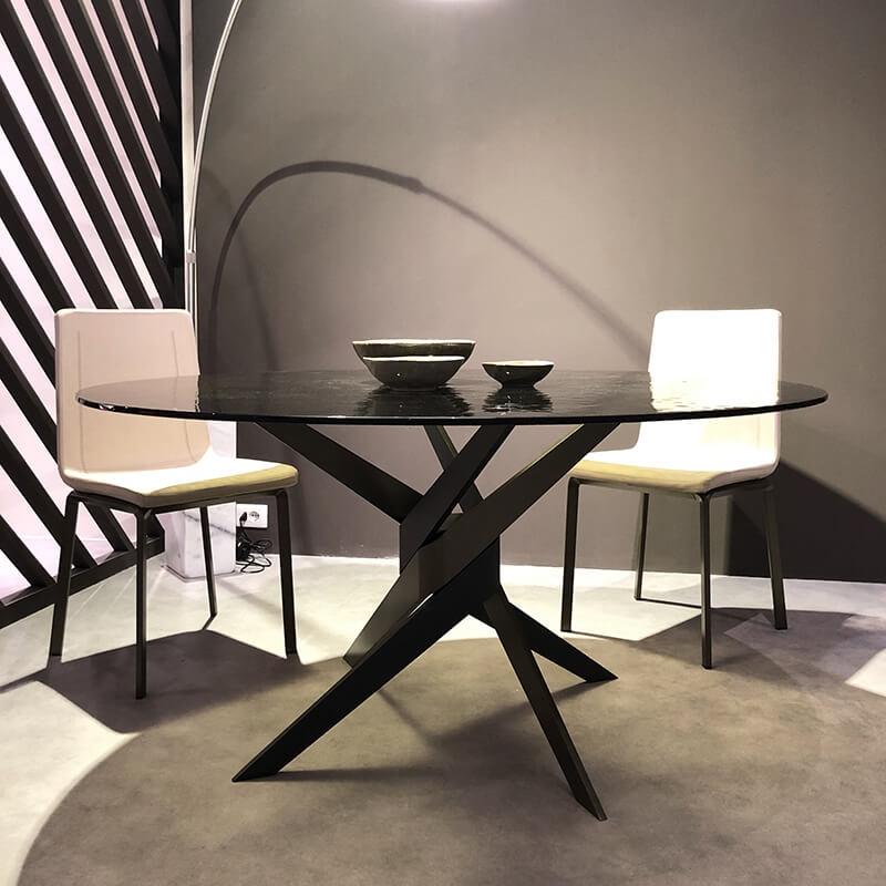 table ronde en verre design italien pied central vertigo