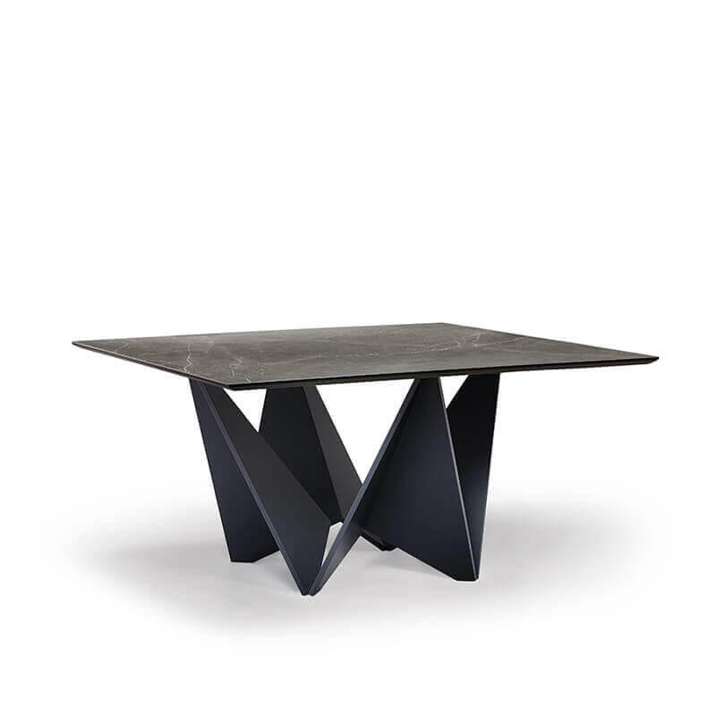 table design carree en ceramique avec pied original origami