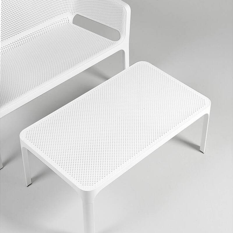 table basse de jardin moderne avec plateau micro perfore 100 x 60 cm net