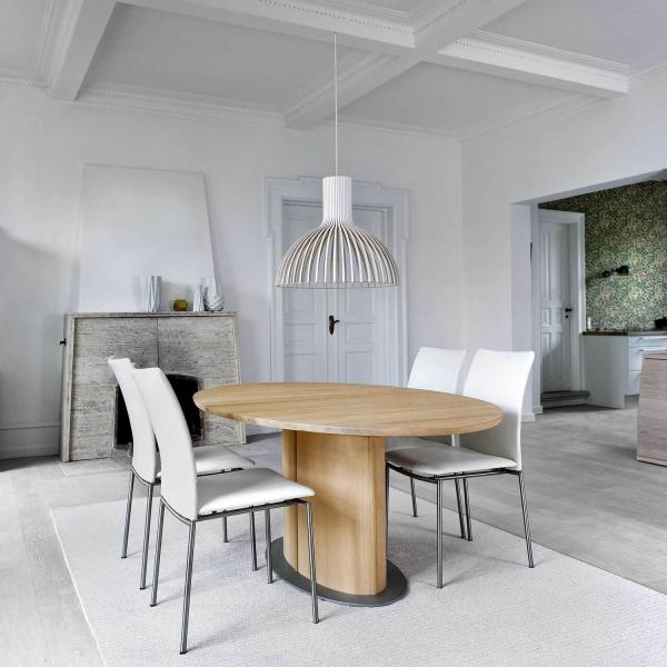 table ovale en bois avec allonge et pied central style scandinave sm72 73