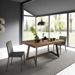 table salle a manger bois et metal