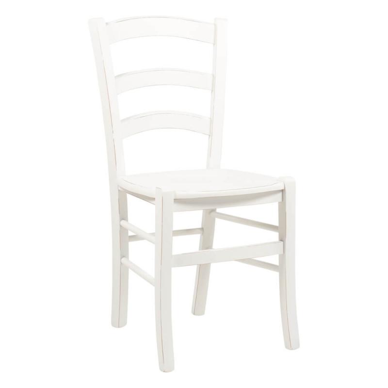 chaise en bois laque blanc vieilli venezia