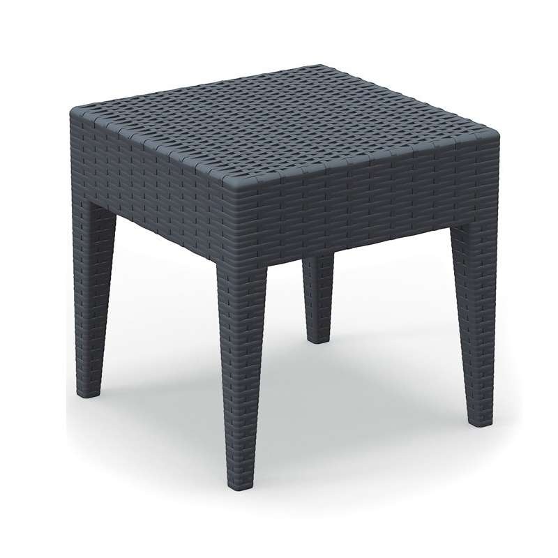 table basse de jardin carree en resine imitation tressage miami