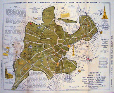 The Latitude   Longitude of Collectable Maps Two Picture Story Maps of Boston   1940