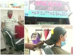 This hairdresser is cutting hair for the children and the elderly due to problems caused by the corona