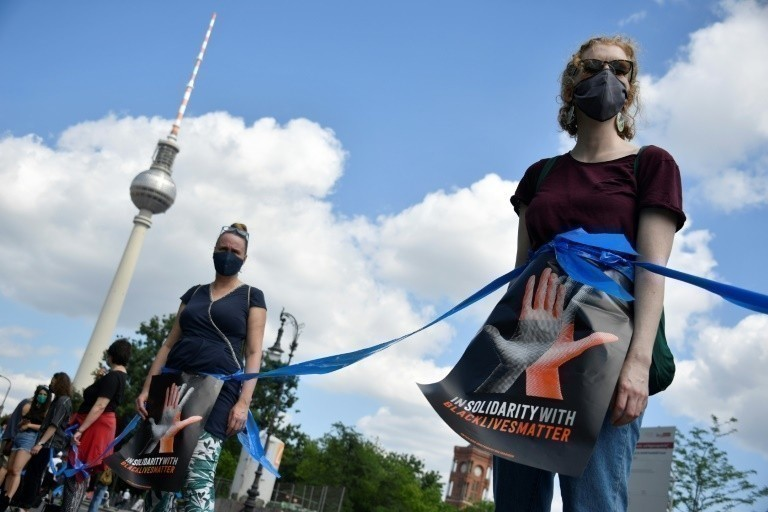 Human Chain Against Racism in Berlin, Germany on June 14, 2020.