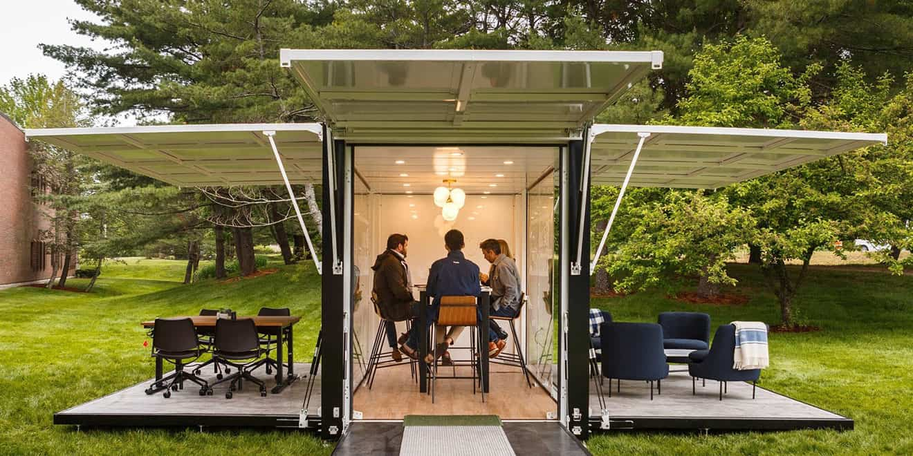 l l bean created a fully functional outdoor office and is taking it on tour around the us