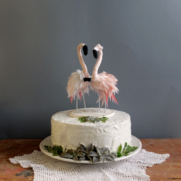 Flamingo Wedding Cake Topper   Aisle Society Handmade Flamingo Wedding Cake Topper
