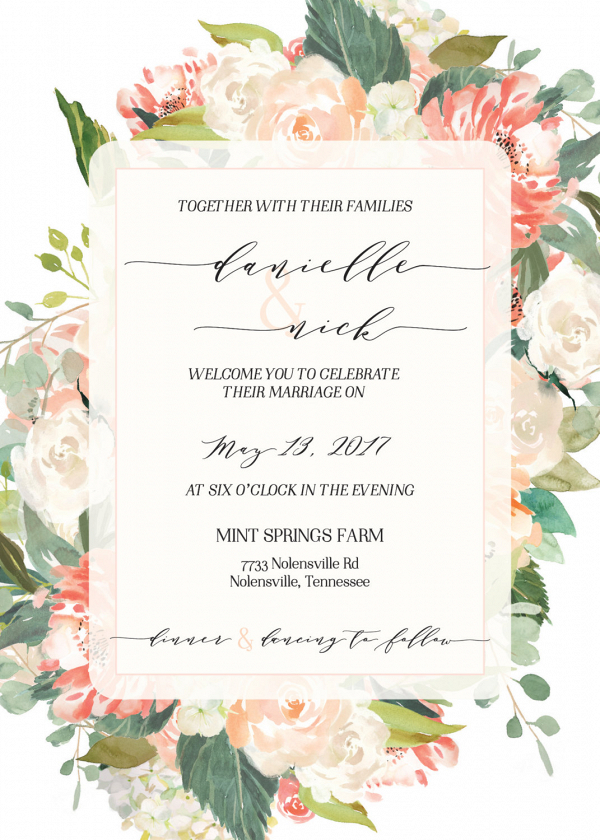 Peach Watercolor Fl Wedding Invitation Aisle Society