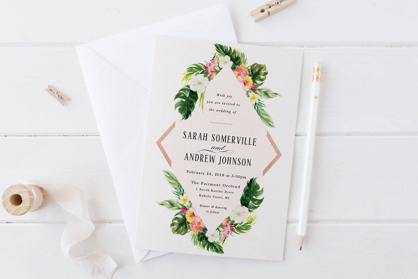 Printable Tropical Wedding Invitation Aisle Society