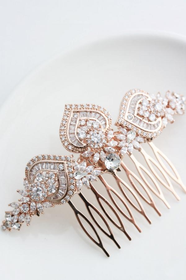 Rose Gold Bridal Hair Comb Aisle Society