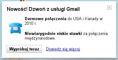 Dzwoń z usługi Gmail