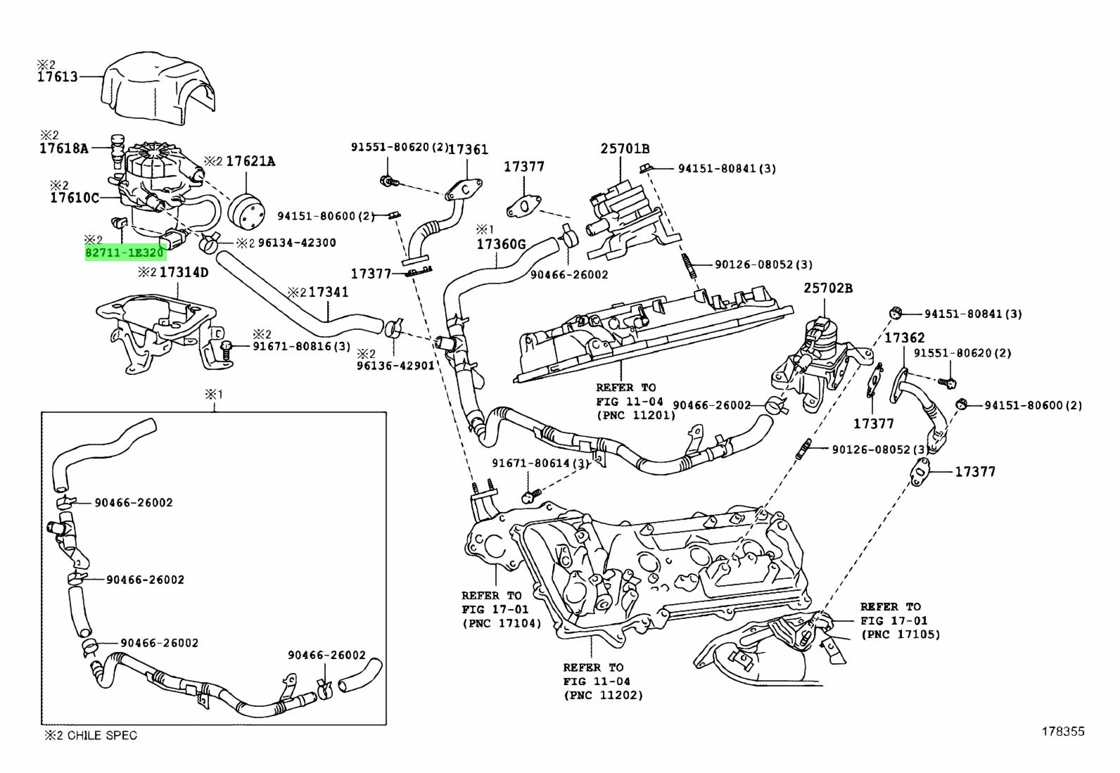 Genuine Toyota 1e320 E320 Clamp Wiring