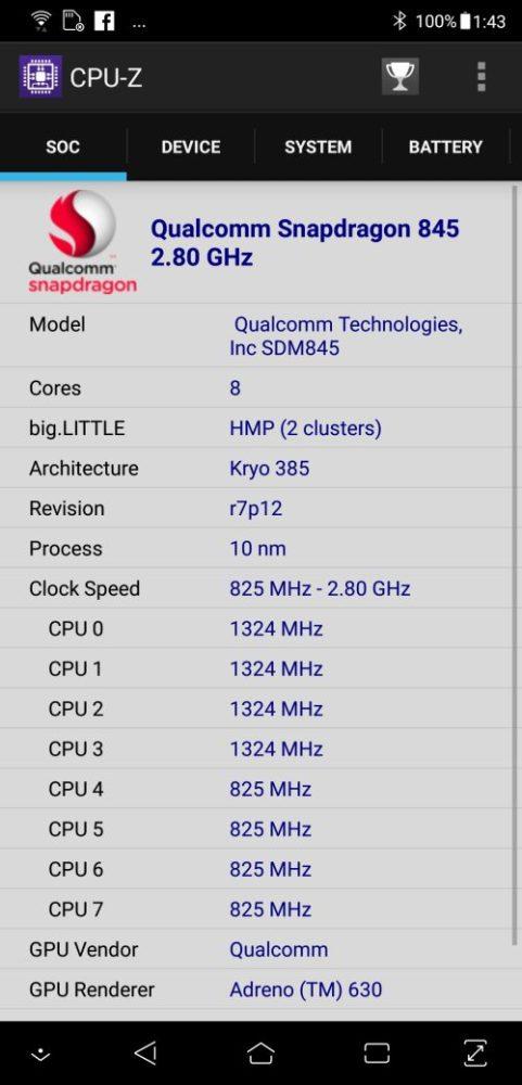 ASUS ZenFone 5Z în CPUZ