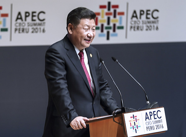 Chinese President Xi Jinping delivers a keynote speech at the Asia-Pacific Economic Cooperation (APEC) CEO Summit in Lima, Peru, Nov. 19, 2016. Photo: Xinhua