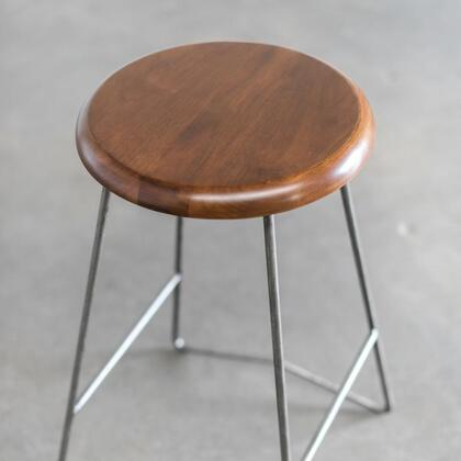 The Nelson Collection counter stool has an incredibly simple and minimal design with a Mid-Century look The seat is made from solid walnut wood atop of bent steel legs Stylish enough to fit into any decor while easily fitting into the tightest spaces