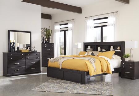 Queen size bed from Signature Design by Ashley is the perfect furniture to being the decoration of your personal bedroom. The headboard is designed as a bookcase where you can store books and read them during the free time on the bed. The bed is cons...