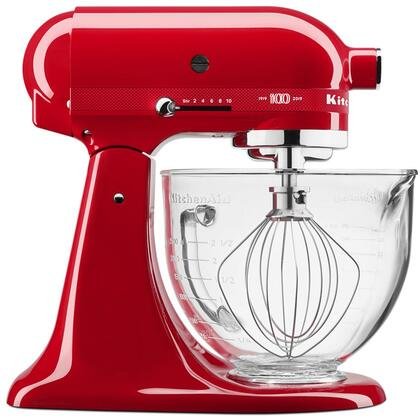 This tilt-head stand mixer by Kitchen Aid has 5 quarts bowl capacity and features 10 speeds 59 point planetary mixing action and glass bowl with measurement markings