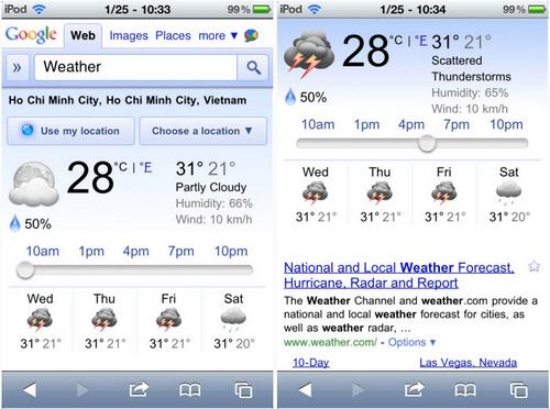 Google cập nhật tính năng dự báo thời tiết cho iOS