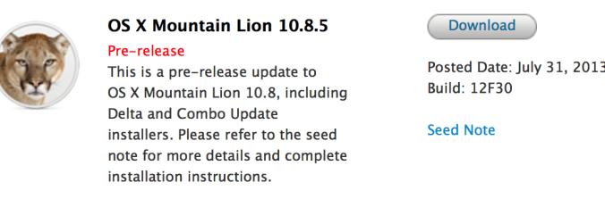 OS X 10.8.5 Beta (Build 12F30)